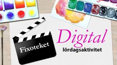 Målarmaterial text digital lördagsaktivitet