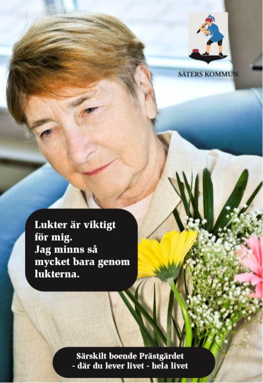 Kvinna med blomster.