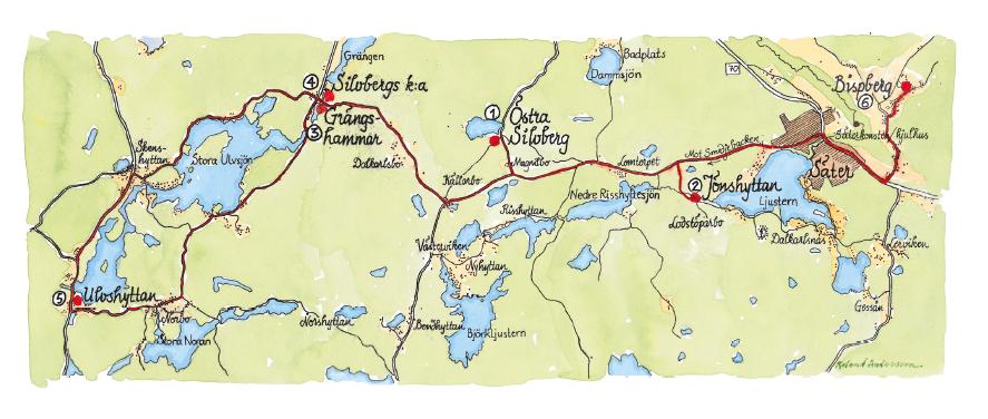 Handritad karta över Silverringen.