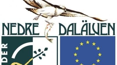 Leader Nedre Dalälvens logotype med en fågel och Europeiska unionens flagga under.