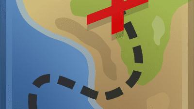 Skattkarta, sjö och land, en streckad linje som leder till ett kryss