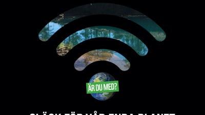 Earth hour logotype med bild från Silvbergs gruva i bakgrunden.
