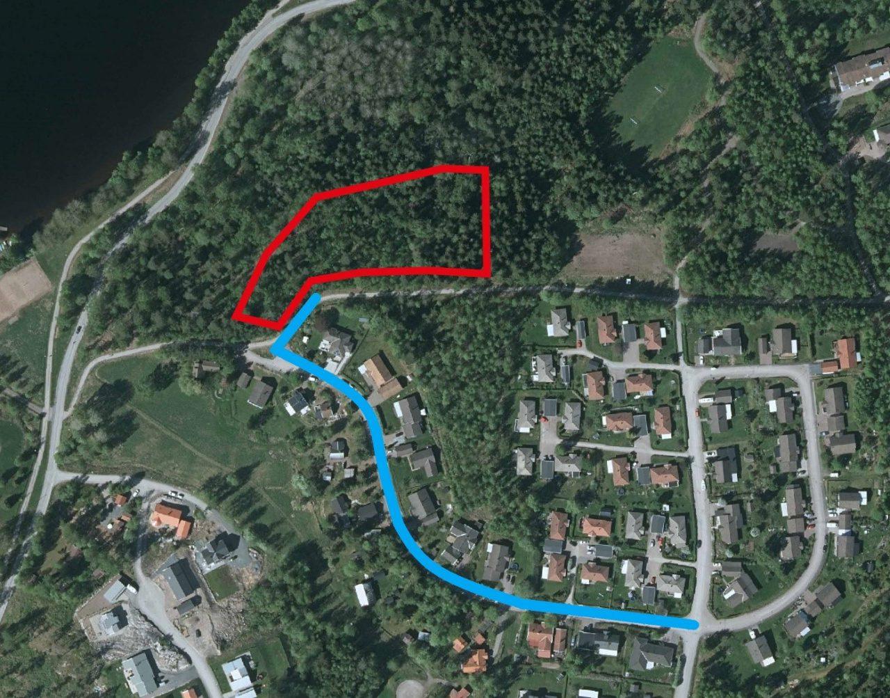 Karta över planerad anslutningsväg till nytt bostadsområde.