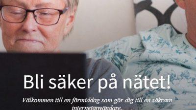 Kvinna sitter och tittar på en skärm. Text
