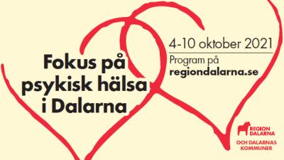två röda hjärtan mot gul bakgrund. Test Fokus på psykisk hälsa i dalarna