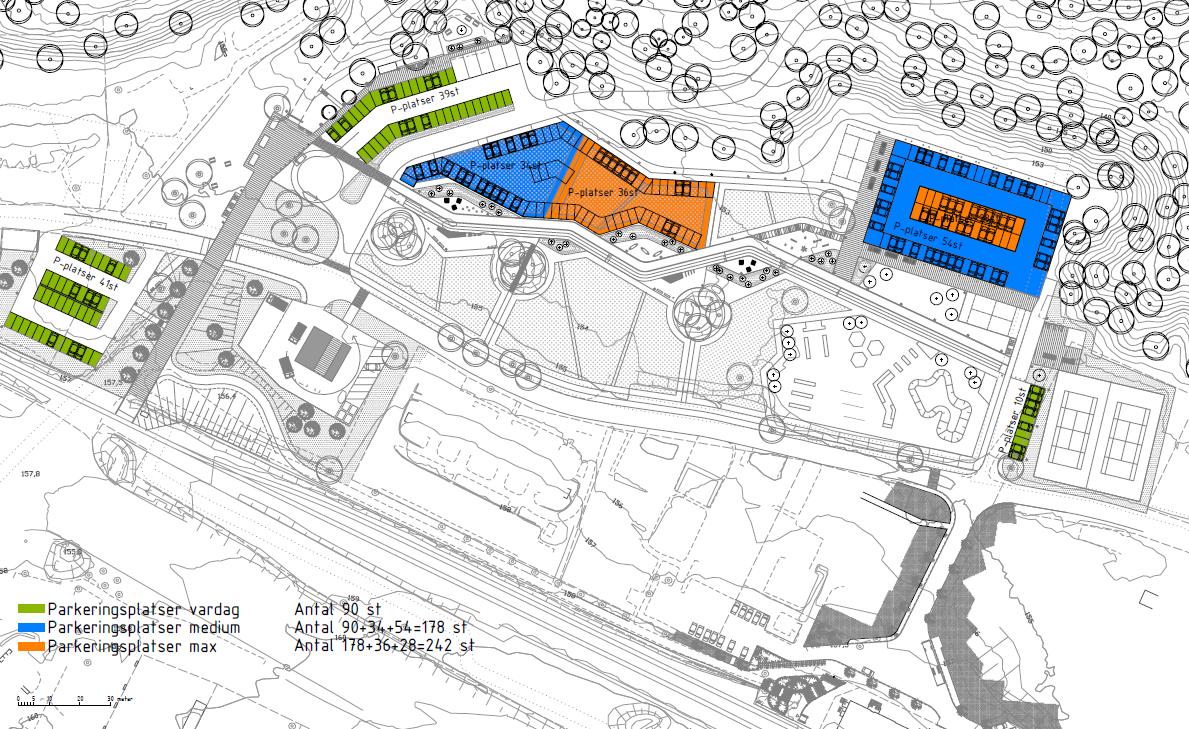 Planerade parkeringsytor på gruvplan.